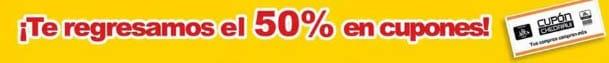 50 por ciento en cupones