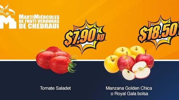 tomate y manzana en oferta chedraui